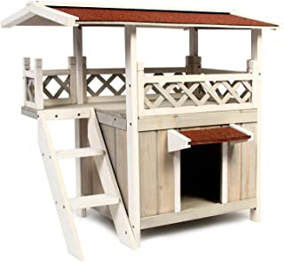 Scurrty Wooden Cat House 2 Story Outdoor Indoor Cat Condo with Stair Waterproof
