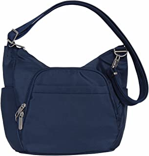 Anti-Theft Classic Crossbody Bucket Bag (One Size, Midnight w/ Blue Floral Lining)