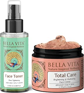 Bella Vita Organic Combo Of Pore Minimising Face Toner & Total Care Face Cream For Skin Fairness, Brightening, Dark Spots Removal, Pigmentation