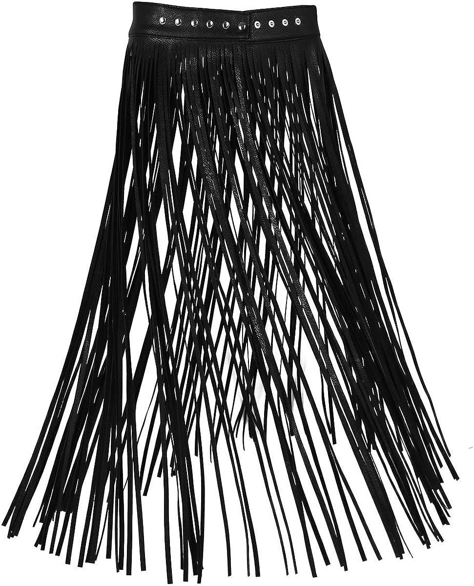 inhzoy Women's Fashion Faux Leather Adjustable Waistband Hippie Boho Long Fringe Tassel Skirt