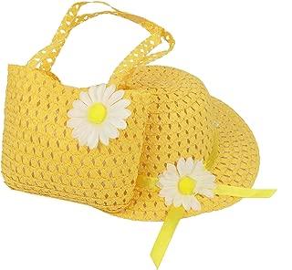 HugeStore Kids Sunflower Straw Sun Hat Handbag Set Summer Beach Hat Cap for Girls Toddlers Green