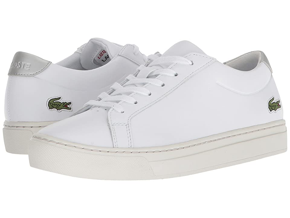Lacoste Kids L.12.12 (Little Kid/Big Kid) (White/Silver) Kids Shoes