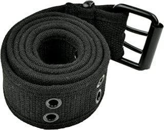 Double Hole Grommets Canvas Web Belts Men or Women Military Style 2 Prong Buckle by Belle Donne