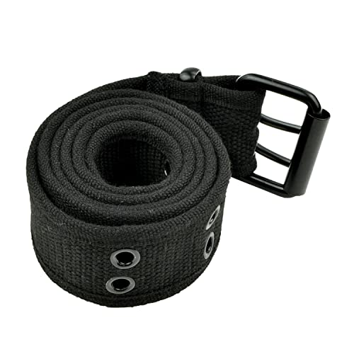 Double Hole Grommets Canvas Web Belts Men or Women Military Style 2 Prong  Buckle by Belle 1e36fe672b6