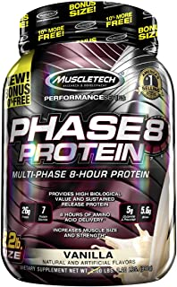 MuscleTech Phase8 Protein Powder, Sustained Release 8-Hour Protein Shake, Vanilla, 2.2 Pound