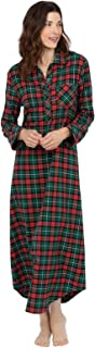 Image of A Popular Pick: Green and Red Plaid Flannel Nightgown for Women - See More Colors