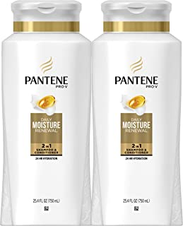 Pantene Shampoo and Conditioner 2 in 1, Pro-V Daily Moisture Renewal for Dry Hair, 25.4 Fl Oz, Pack of 2