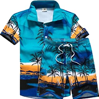 Men 2 Piece Summer Hawaiian Shirt Short Pants Floral Print Button Down Tops Shorts Outfit