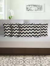 Divine Casa Smooth Grace Cotton Cushion Covers (16x16inch, Black and White) - Set of 5