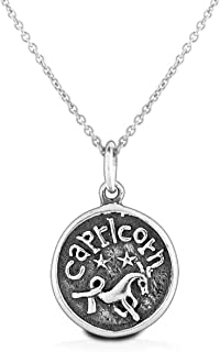 Astrology Horoscope Round Disc Medallion Zodiac Necklace Pendant For Men For Women Oxidized 925 Sterling Silver 12 Signs