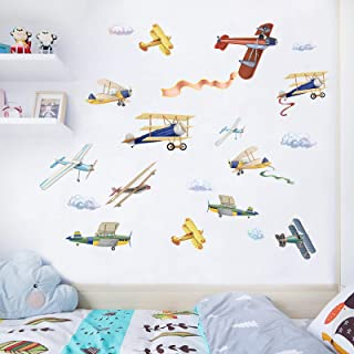 Watercolor Airplane Wall Decals, Removable Wall Stickers for Nursery Playroom Kids Bedroom Decoration, Aircrafts Theme Boy...