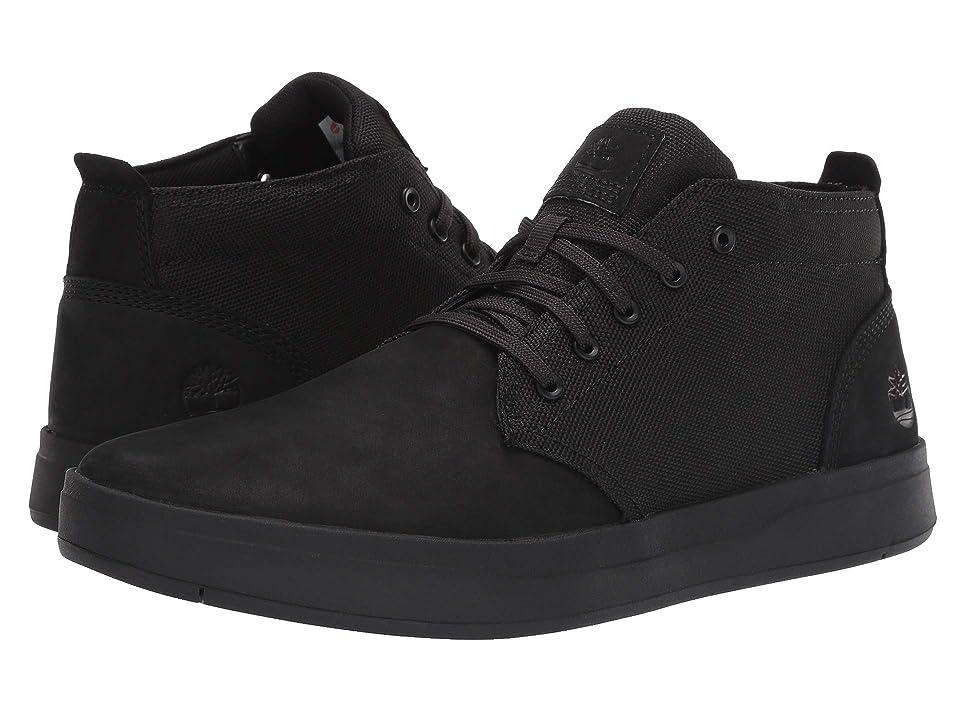 Timberland Davis Square Leather and Fabric Chukka (Black Nubuck/Black) Men