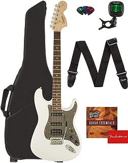 Fender Squier Affinity Series Stratocaster HSS Guitar - Laurel Fingerboard, Olympic White Bundle with Gig Bag, Tuner, Strap, Picks, and Austin Bazaar Instructional DVD