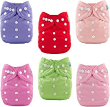 ALVABABY Baby Cloth Diapers 6 Pack with 12 Inserts Adjustable Washable and Reusable Pocket Diapers for Baby Girls 6BM88