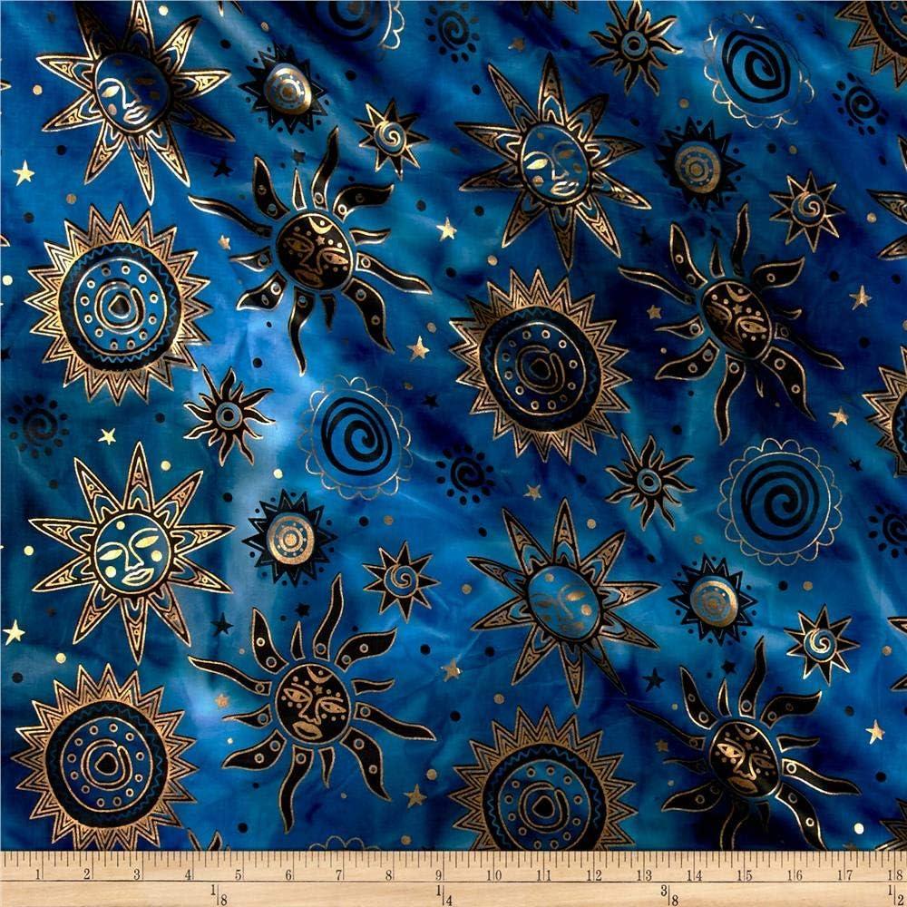Indian Batik Odyssey Gold Sun Blue/Black Metallic, Fabric by the Yard