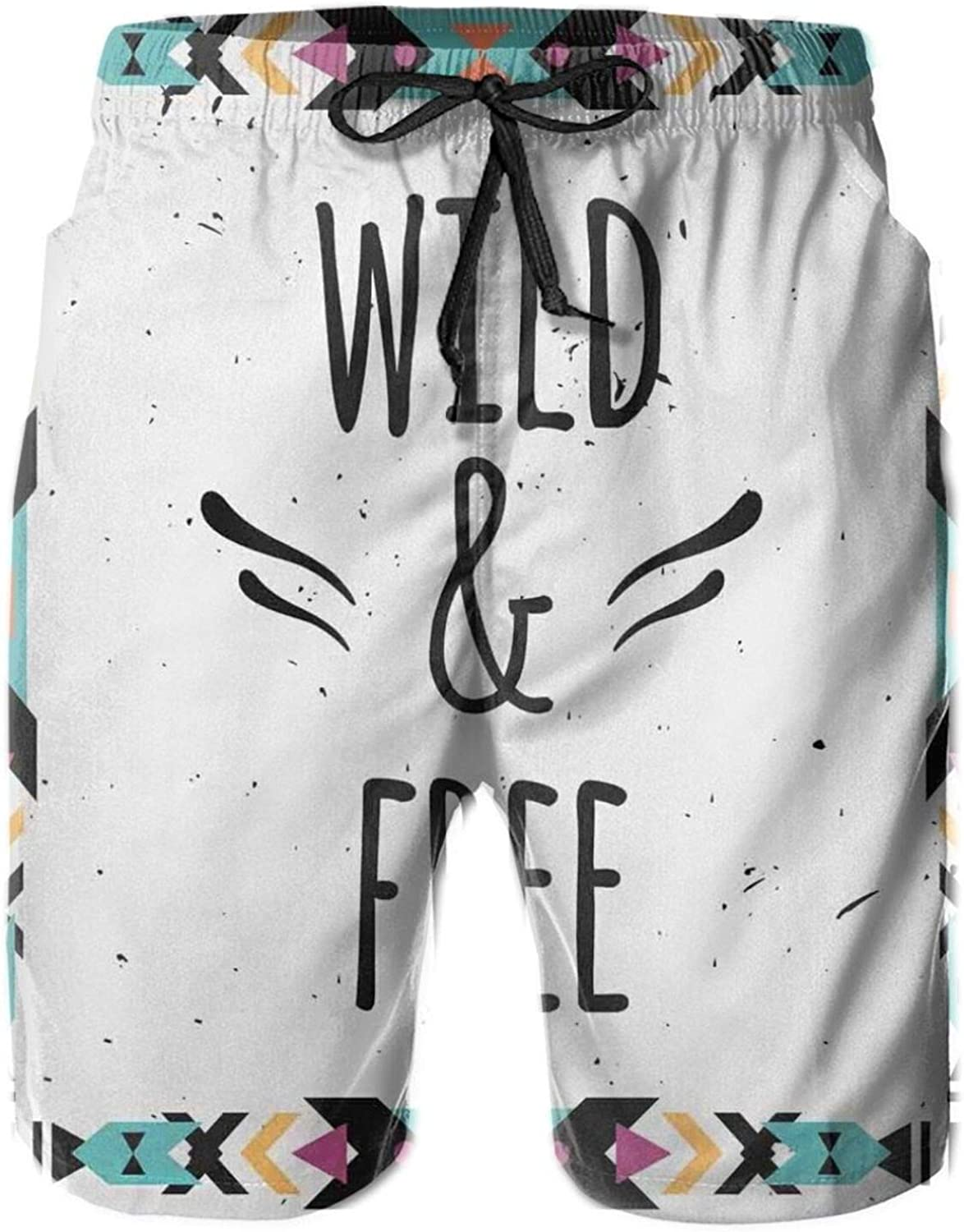 Abstract Geometric Frame Wild and Free Quote Boho Style Art Print Drawstring Waist Beach Shorts for Men Swim Trucks Board Shorts with Mesh Lining,L