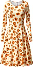 VETIOR Womens Halloween Long Sleeve Round Neck Casual Printed Flared Party Dress