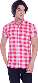 BASE 41 Men's Checkered Half Sleeves Black Shirt