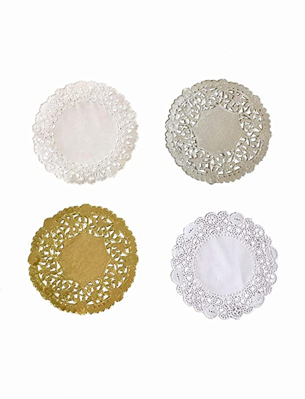 Combo Pack 4 Inch Round Paper Lace Table Doilies White Silver And Gold Pack Of 200