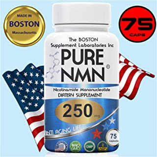 The Boston Supplements | Pure NMN | 250mg Per Serving (Nicotinamide Mononucleotide), Third Party Tested, to Boost NAD+ Levels Similarly to Riboside Anti Aging (75 Capsules) Repair & Energy, Vitamin