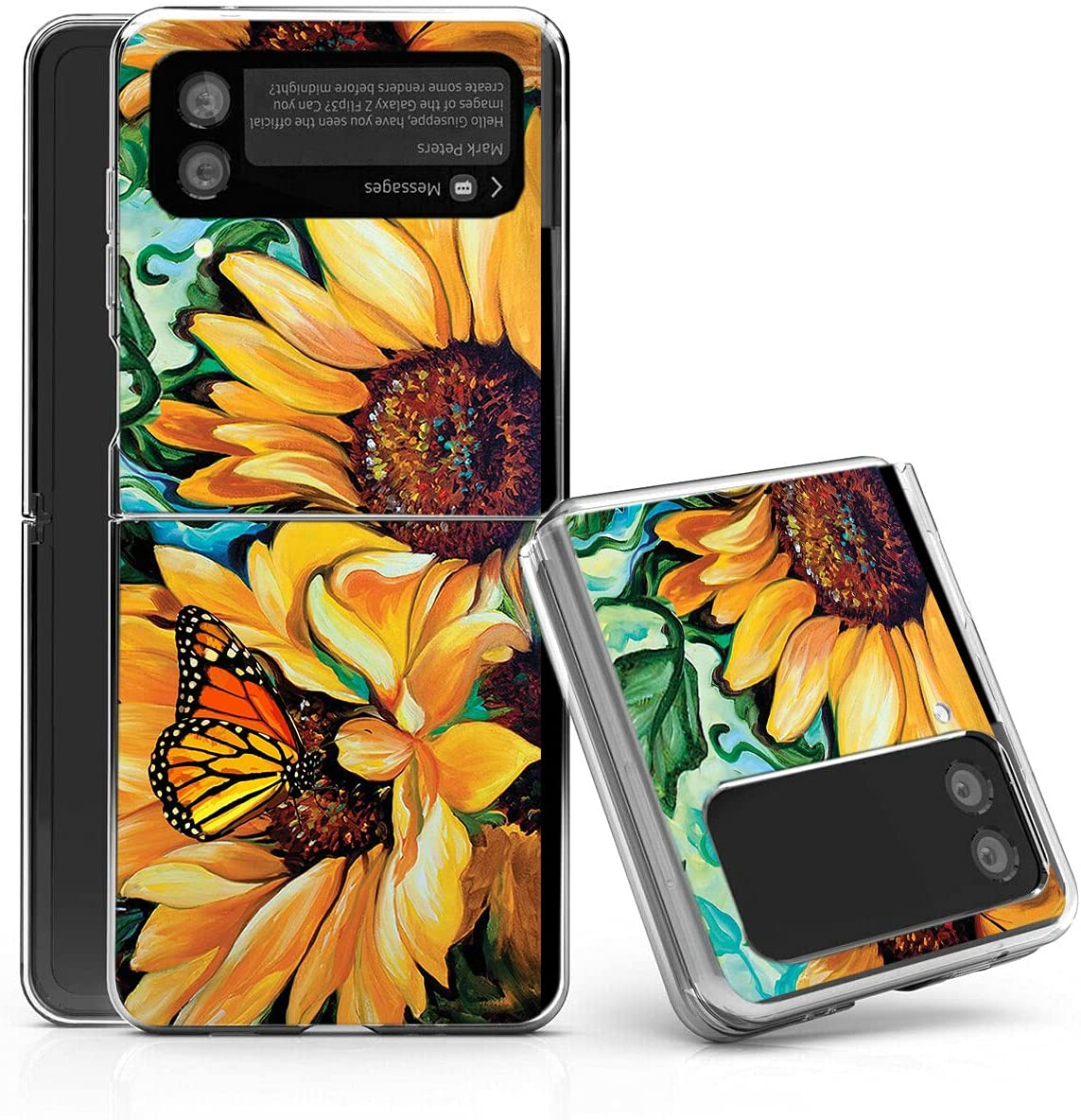 Galaxy Z Flip 3 5G Case,Bcov Yellow Sunflower Butterfly Anti-Scratch Solid Hard case Protective Shookproof Phone Cover for Samsung Galaxy Z Flip 3 5G