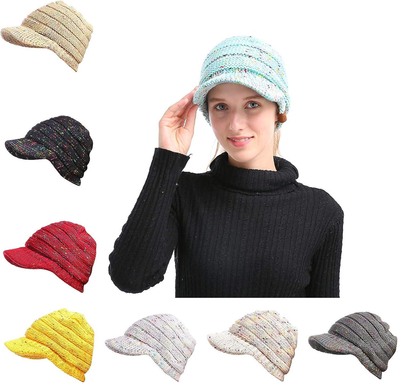 NeuFashion Confetti Knit Messy Bun Beanie Tail Hat