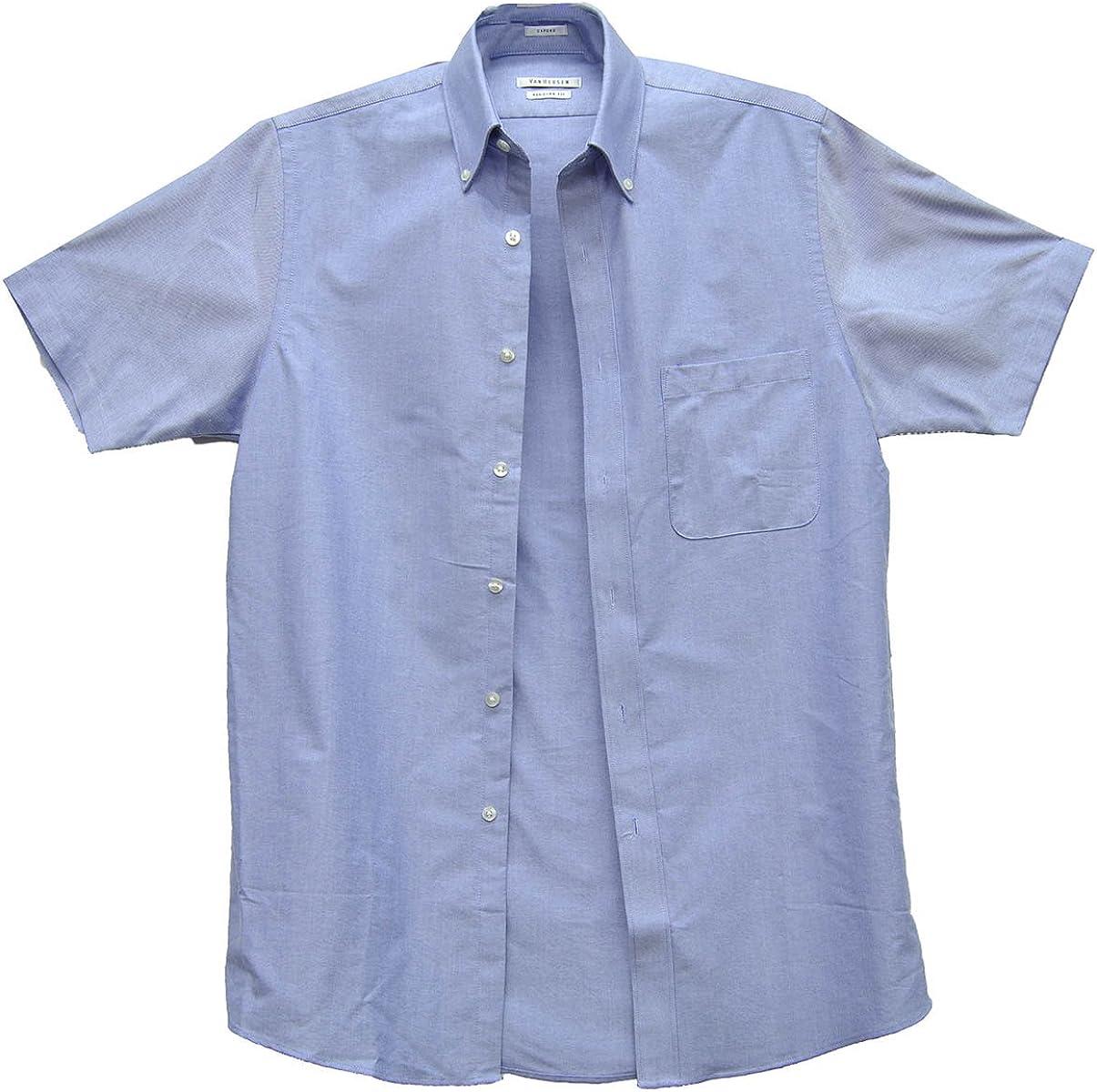 Van Heusen Men Regular‑Fit Blue Short‑Sleeve Button Dress Shirt Denim 14.5