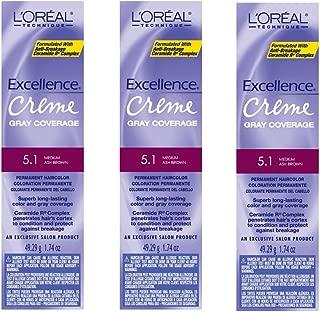 L'Oreal Excellence Creme 5.1 Medium Ash Brown Hair Tint HC-06198 (3 Pack)