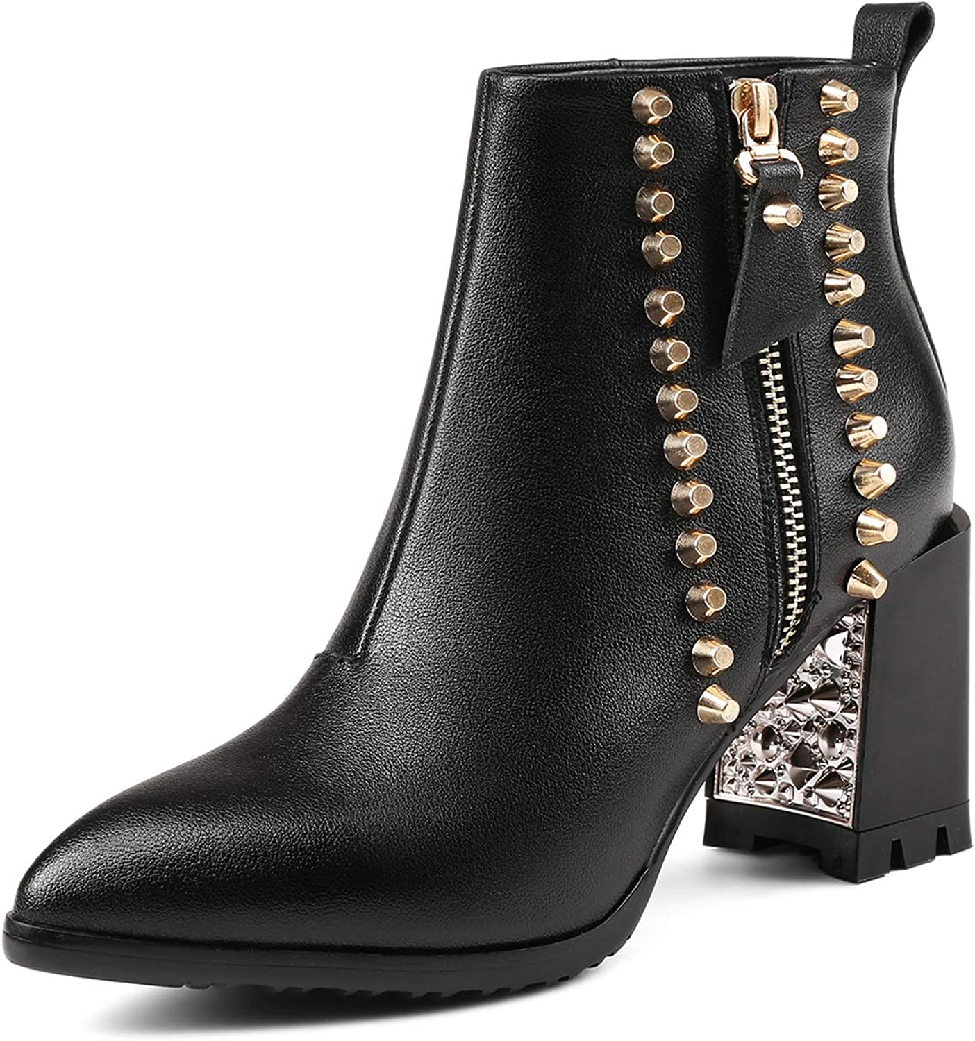 Women's Booties, High Heel Thick Heel Wild Plus Velvet Martin Boots Ladies Fall Winter New Rivet Fashion Boots (color   Black, Size   37)