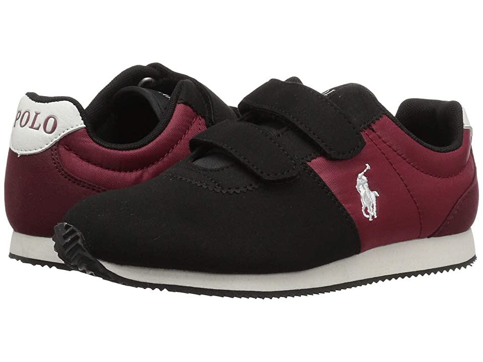 Polo Ralph Lauren Kids Brightwood EZ (Little Kid) (Black/Burgundy Microsuede) Boy