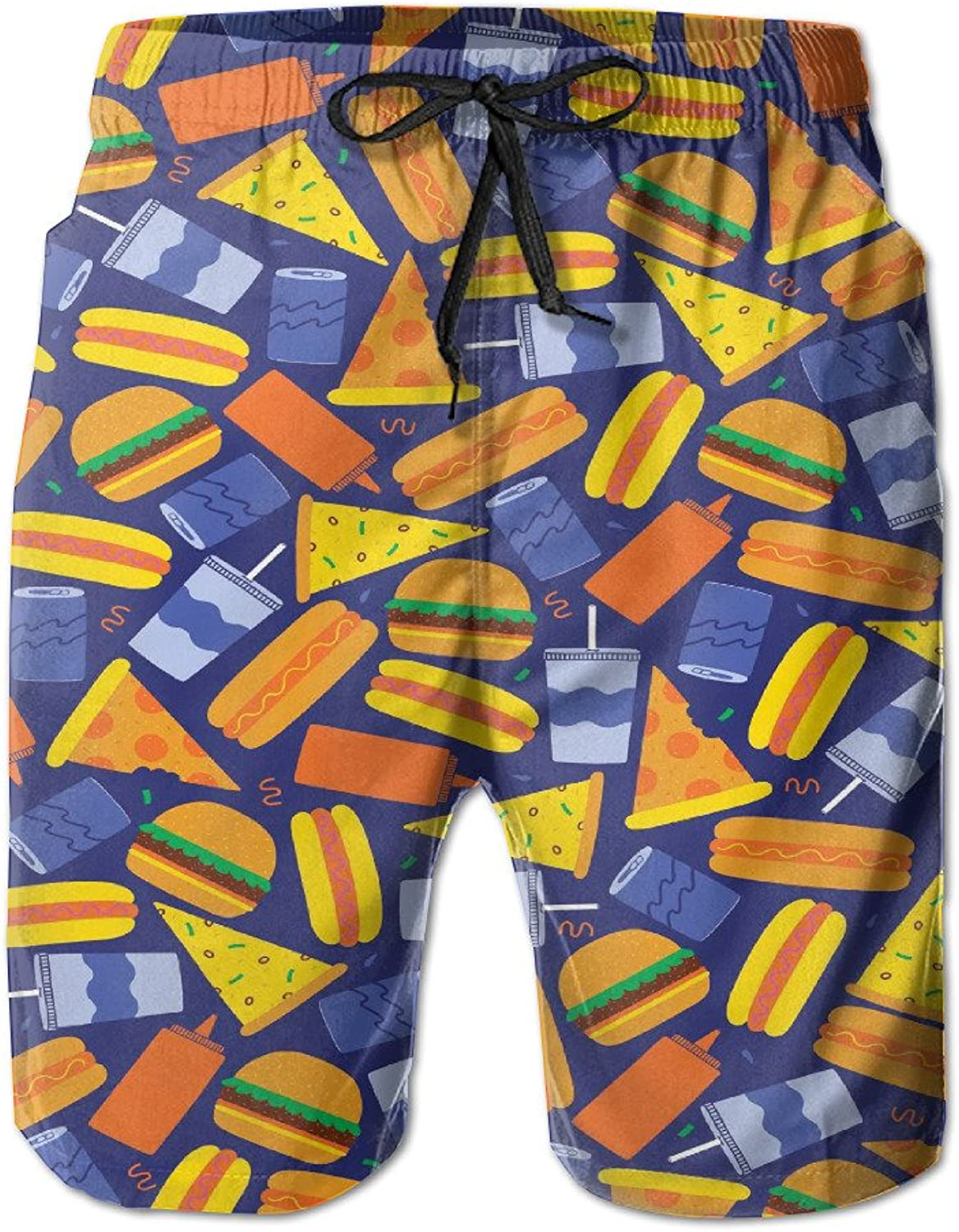 - JH JH JH SPEED Mens Surf Beach Shorts Swim-Trunks Quick Dry Burger Pizza Board Shorts with Pocket SizeNme 3c7d04