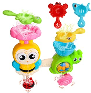 Bath Toys Water Shower Sprayer Toddlers Vaburs Bath Wall Toy Sets Waterfall Fill Spin Flow Non Toxic Birthday Gift for Bab...