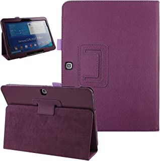Samsung Galaxy Tab 4 10.1 Case, NSSTAR Simple Color Slim PU Leather Folio Protective Case Cover with Stand for Samsung Galaxy Tab 4 10.1 10 Inch Tablet (Purple)