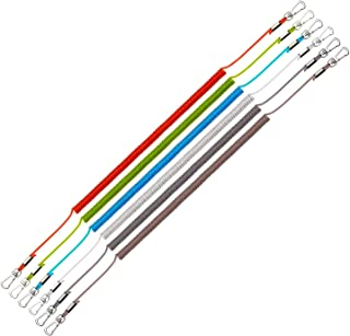 ミニスケーター 6個 軽量コイルコード 伸縮性 ゴム 安全ロープ ワイヤー プラスチック ランヤード ボート カヤック キャンプ 安全プライヤー リップグリップ タックル 魚の安全ツール ランダムカラー (12インチ)