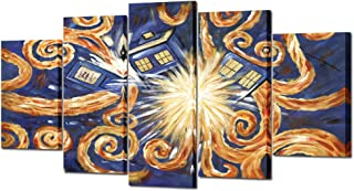 VVOVV Wall Decor Famous Wall Art Doctor Who Van Gogh's Exploding Tardis Pattern 5 Pieces Large Canvas Oil Painting Printed on Canvas Framed Artwork Canvas Prints for Home Decoration Ready to Hang