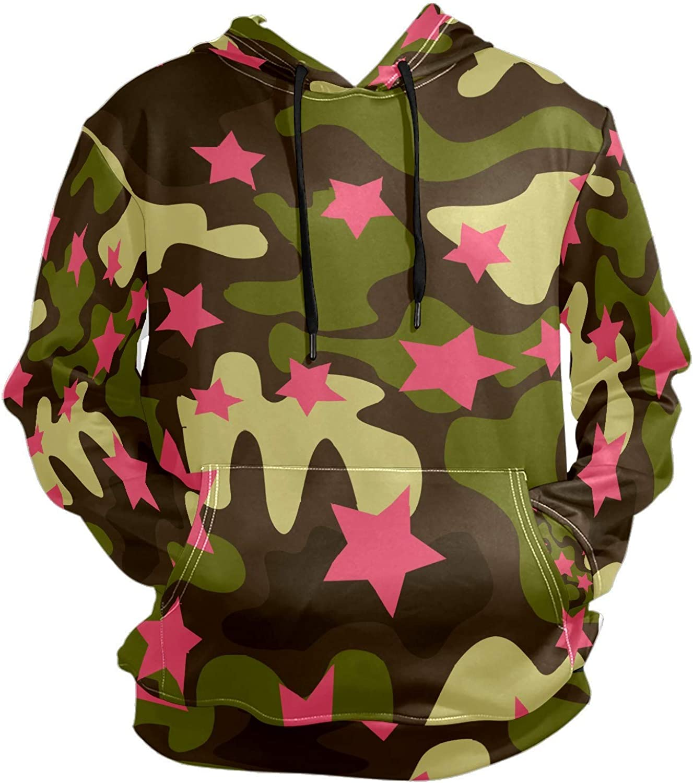 Men's Sport Hoodie Camouflage Print Pink Star Big and Tall Hoodies for Men Women Oversized Hooded Sweatshirt Hip Hop Pullover Hoodie Midweight Hood for Boys Girls