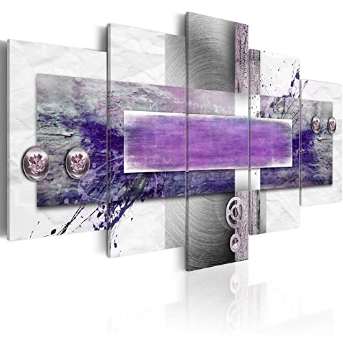 PURPLE GREY WALL ART PICTURE WHITE BLACK ABSTRACT CANVAS SPLIT PANEL LARGE PRINT