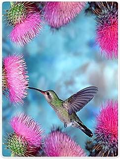 Blankets Fleece Blanket Warm Throw for Sofa Bed Hummingbird Dandelion Pink Flowers 30