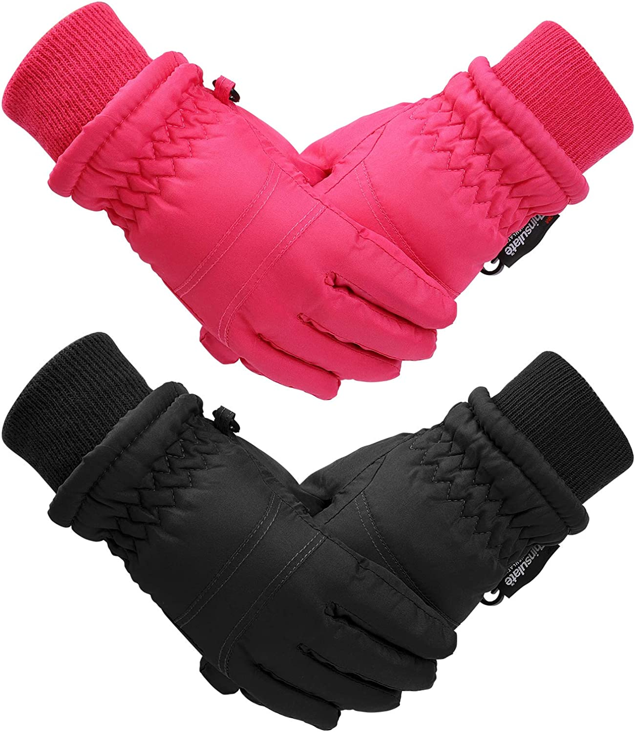 Cooraby 2 Pairs Kids Winter Gloves Warm Lined Ski Gloves Toddler Full Finger Snow Mittens for 1-3 Years Infants