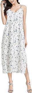FURAMI Women's Summer Casual Spaghetti Strap Floral Print Boho Long Maxi Dress