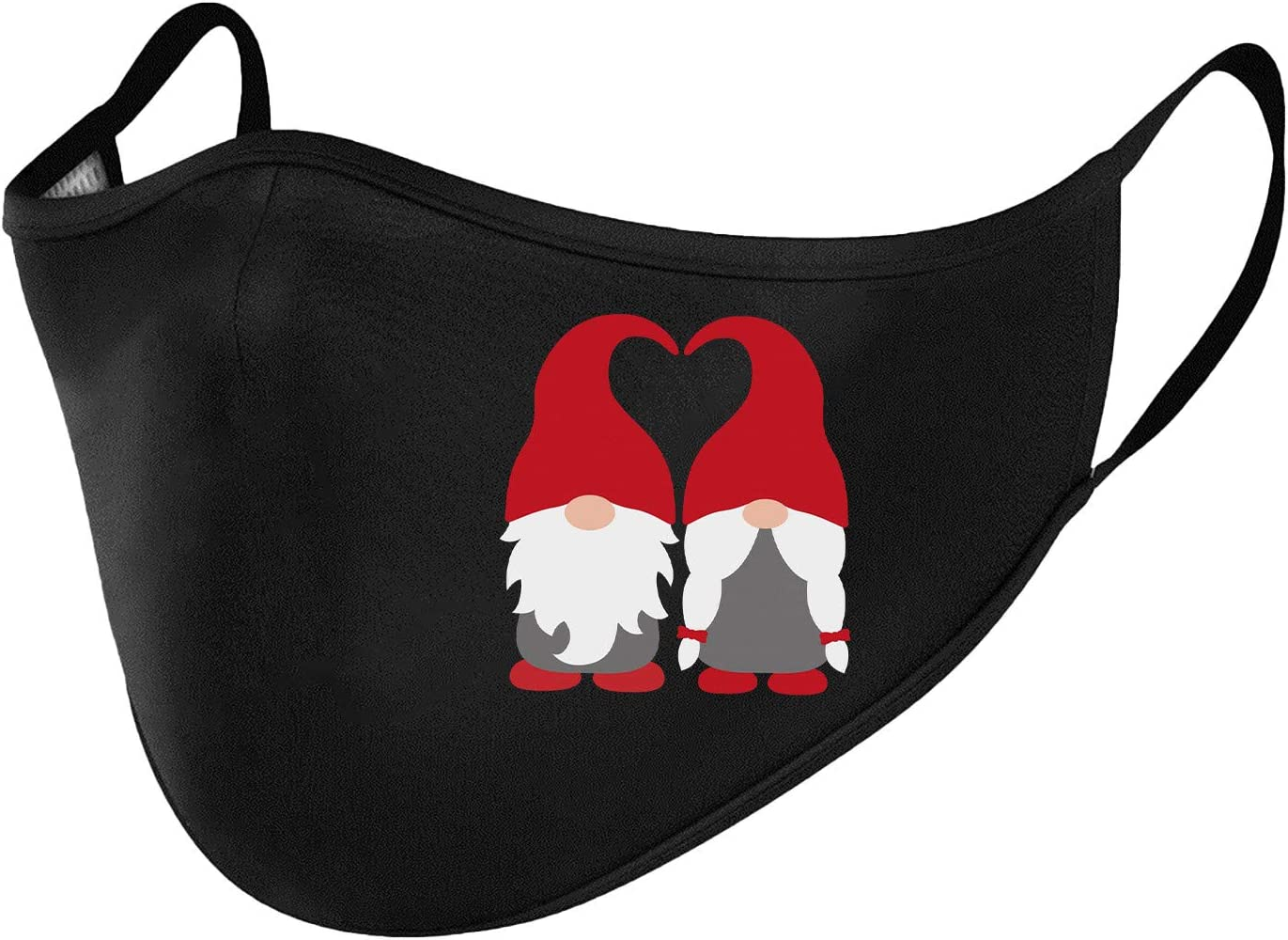 1PCS Windproof Activated Carbon Bandana,Valentines Day,Baby Cat Holding Heart Shaped Baloons Romantic Love Themed Illustration,Vermilion Black,Facial decorations for adults