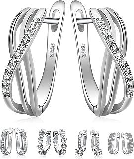 925 Sterling Silver Dangle Hoop Earrings Collection