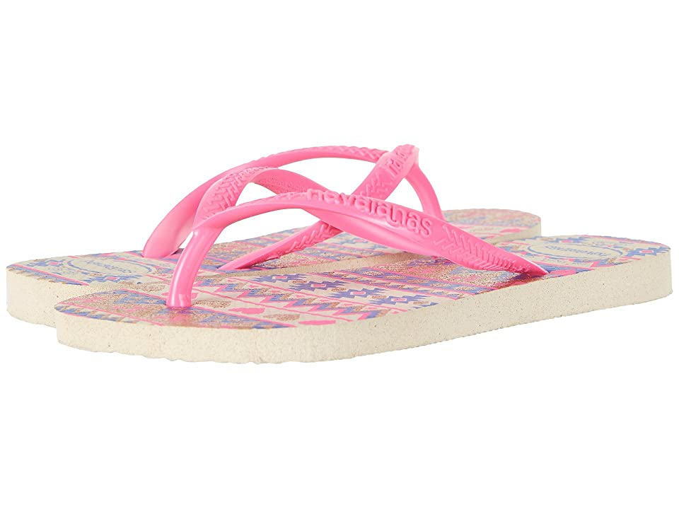 Havaianas Kids Slim Fashion Sandals (Toddler/Little Kid/Big Kid) (Beige/Pink) Girls Shoes