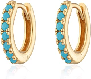 Natural Turquoise Earrings, Huggie Earrings, 14k Solid Gold 10MM Turquoise Huggie Hoop Earrings Micro Pave, December Birthstone, Evil Eye Stone, Protection Stone, Perfect For Everyday Use Gift For Her