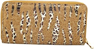 Lux Accessories Ivory and Gold Tone Leopard Striped Glitter Zipper Wallet