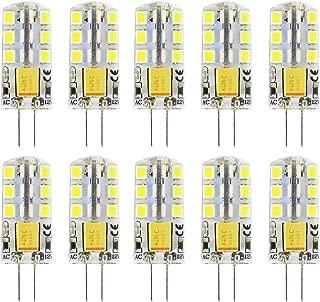 Opcove G4 LED Bulb 2W Bi-Pin LED Light Bulb 24×2835 SMD 15W Halogen Bulb Equivalent Silicone Coated Shatterproof 180 Lumens Daylight 360° Beam Angle AC/DC 12V, 10 Pack