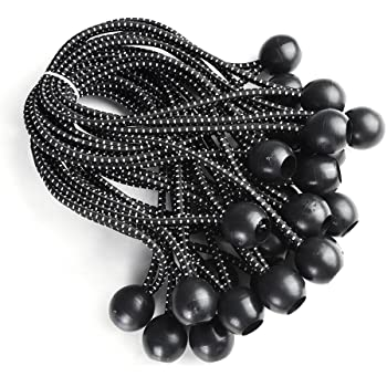 25pcs Black Ball Bungee Bungie Rope Buckle Cord Canopy Tent Tarp Tie Downs Strap