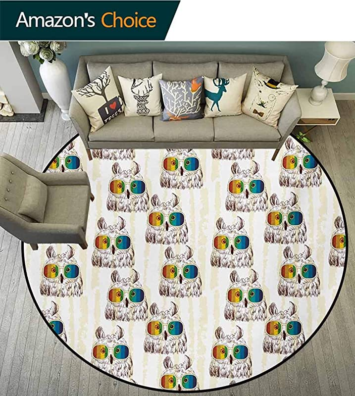Owl Round Rug Sketch Art Of Funny Owls With Colorful Glasses On Striped Backdrop With Grunge Effect Carpet Door Pad For Bedroom Living Room Balcony Kitchen Mat Diameter 24 Inch