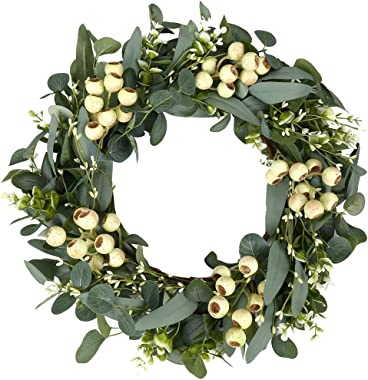 Green Eucalyptus Wreath,Artificial Eucalyptus Leaves Wreath with Big Berries,Spring/Summer Greenery Wreath for Front Door Wal