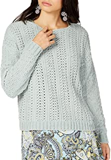 INC Women's Open Cable-knit Chenille Crewneck Sweater Top